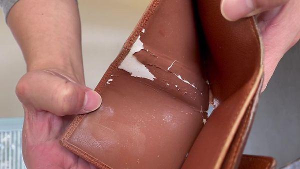 ヴィトンの二つ折り財布 修理前