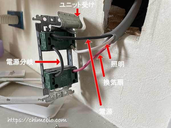 スイッチユニットを引き出した状態での各部説明