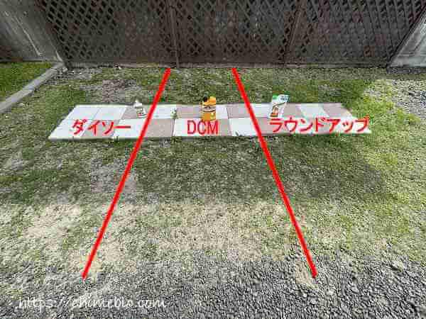 除草剤をテストする3区画の解説